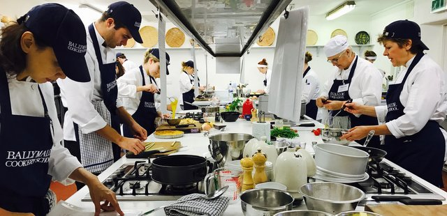 Cooking School Students in the Kitchen